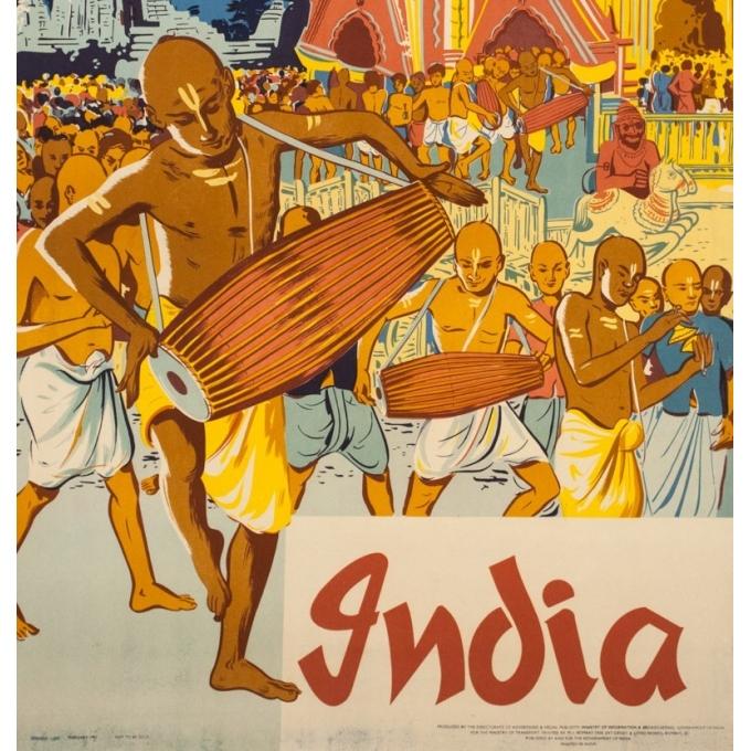 Affiche ancienne de voyage - Anonyme  - 1957 - Festival de Chars à Puri - 101 par 62.5 cm - 3
