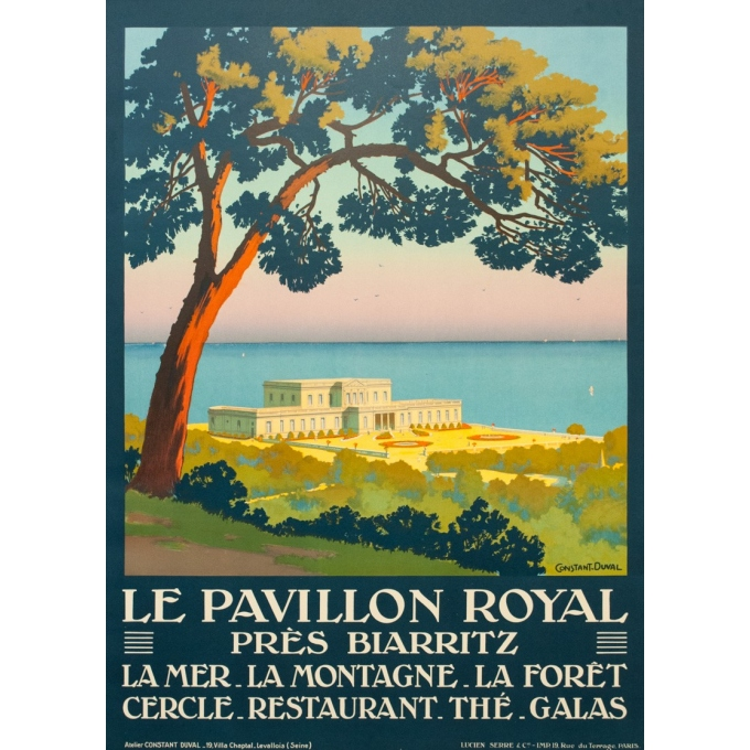 Vintage travel poster - Constant Duval - Circa 1920 - Pavillon Royale Biarritz France - 41.1 by 29.9 inches