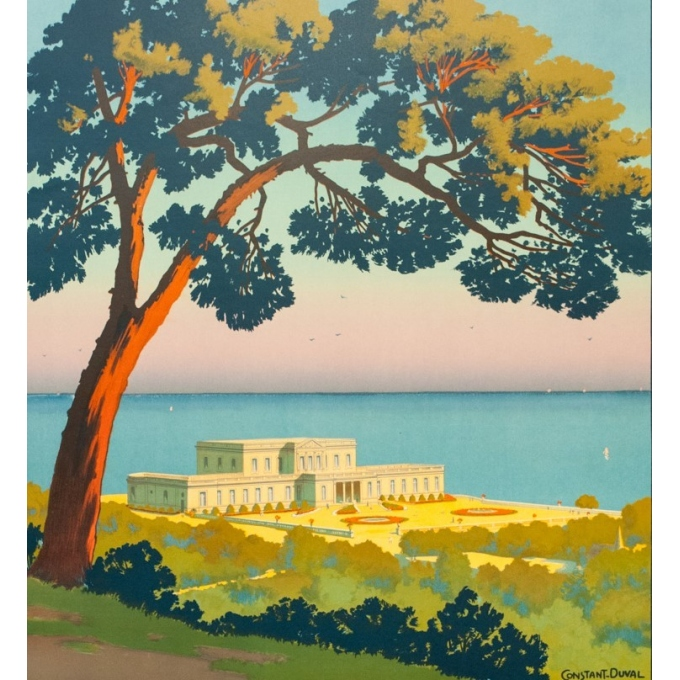 Vintage travel poster - Constant Duval - Circa 1920 - Pavillon Royale Biarritz France - 41.1 by 29.9 inches - 2
