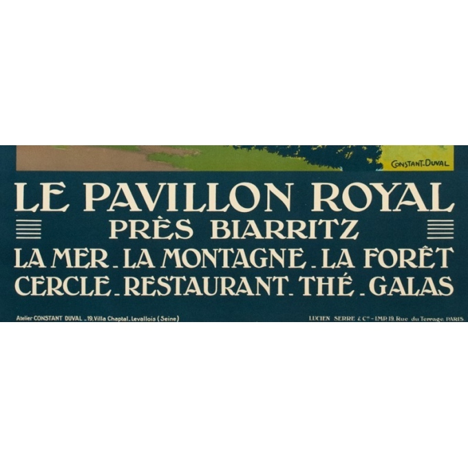 Vintage travel poster - Constant Duval - Circa 1920 - Pavillon Royale Biarritz France - 41.1 by 29.9 inches - 3