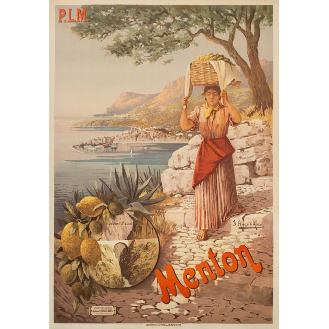 Vintage travel poster - Hugo d'Alési - Circa 1900 - Menton Citron PLM - 41.7 by 29.5 inches