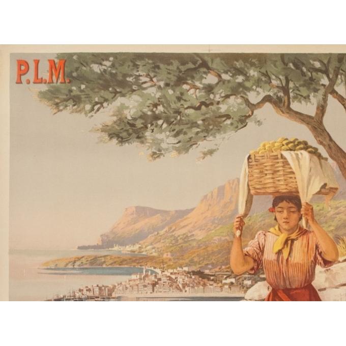 Affiche ancienne de voyage - Hugo d'Alési - Circa 1900 - Menton Citron PLM - 106 par 75 cm - 2