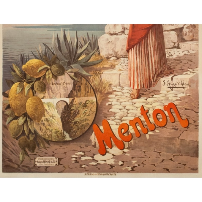 Vintage travel poster - Hugo d'Alési - Circa 1900 - Menton Citron PLM - 41.7 by 29.5 inches - 3