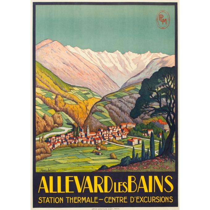 Affiche ancienne de voyage - Jean Julien - Circa 1925  - Allevard les Bains - 109 par 78 cm