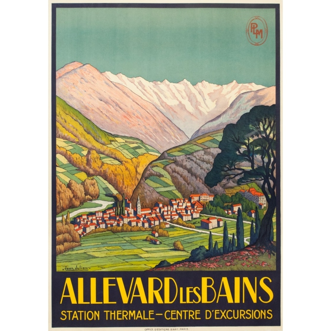 Vintage travel poster - Jean Julien - Circa 1925 - Allevard les Bains - 42.9 by 30.7 inches