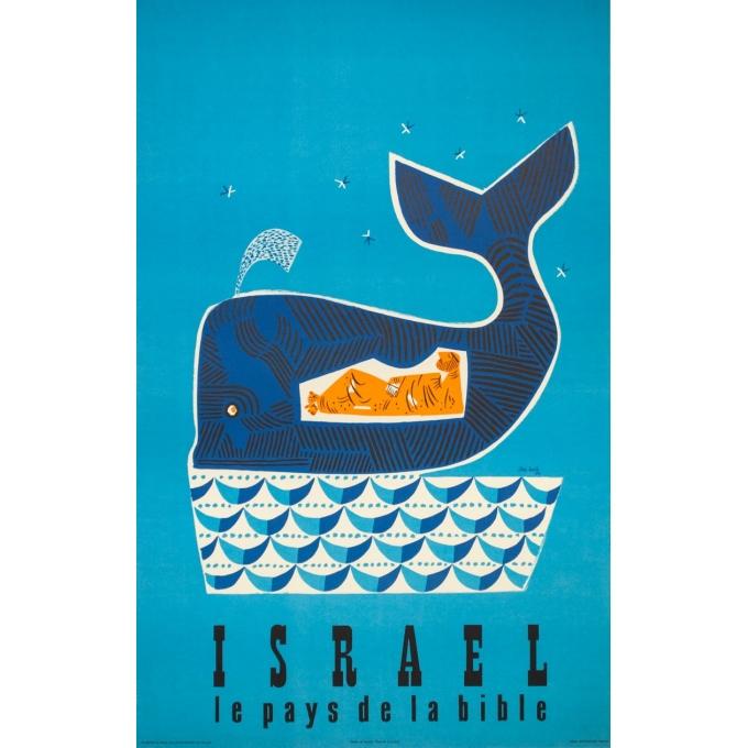 Vintage travel poster - Jean David - 1954 - Israël le pays de la Bible - 38.4 by 24.4 inches