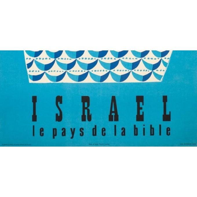 Affiche ancienne de voyage - Jean David  - 1954 - Israël le pays de la Bible - 97.5 par 62 cm - 3