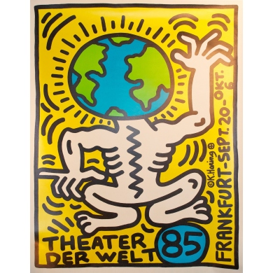 An original poster Theater der welt by Harring 1985. Elbé Paris.