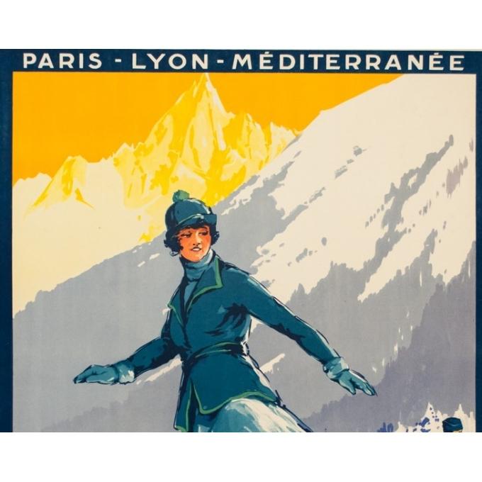 Affiche ancienne de voyage - Roger Soubi - 1924 - Chamonix Mont Blanc patineuse - 108 par 78 cm - 2