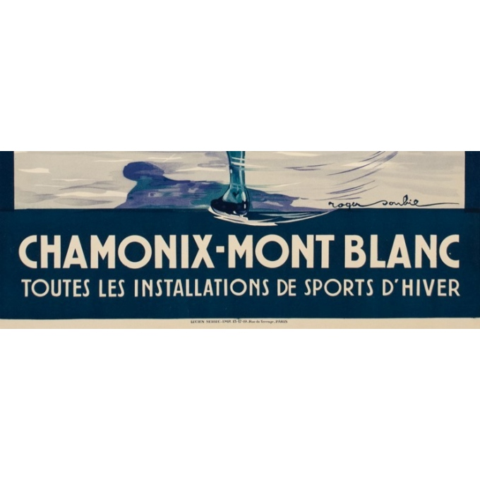 Vintage travel poster - Roger Soubi - 1924 - Chamonix Mont Blanc patineuse - 42.5 by 30.7 inches - 3