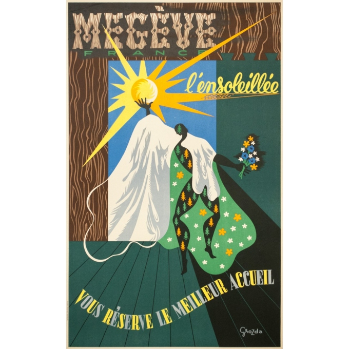 Vintage travel poster - Grozda - Circa 1950 - Megève l'ensoleillée - 39.4 by 24.8 inches