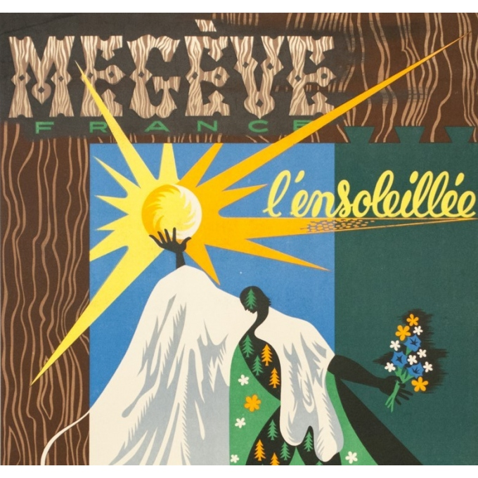 Vintage travel poster - Grozda - Circa 1950 - Megève l'ensoleillée - 39.4 by 24.8 inches - 2