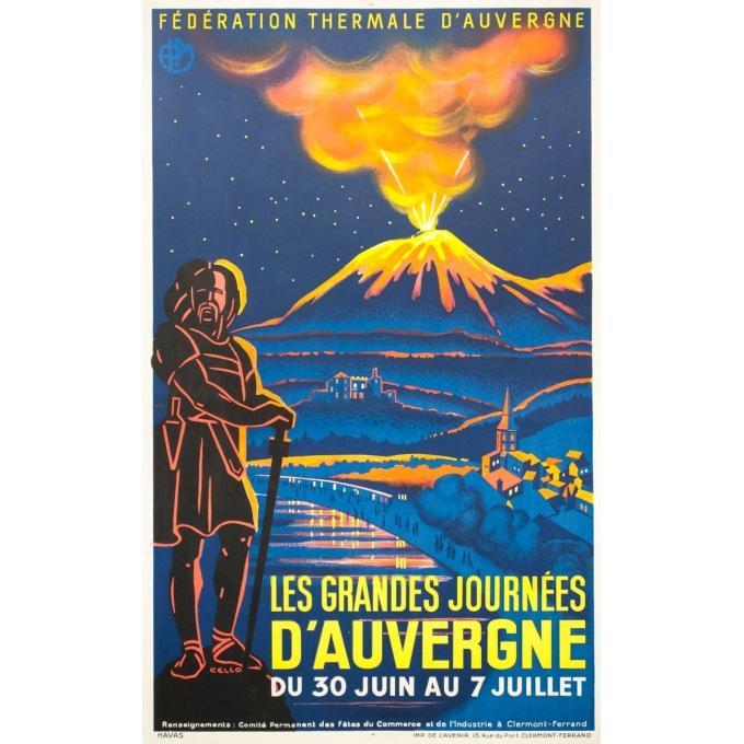 Affiche ancienne de voyage - Cello - Circa 1930 - Les grandes journées d'Auvergne - 100 par 62 cm