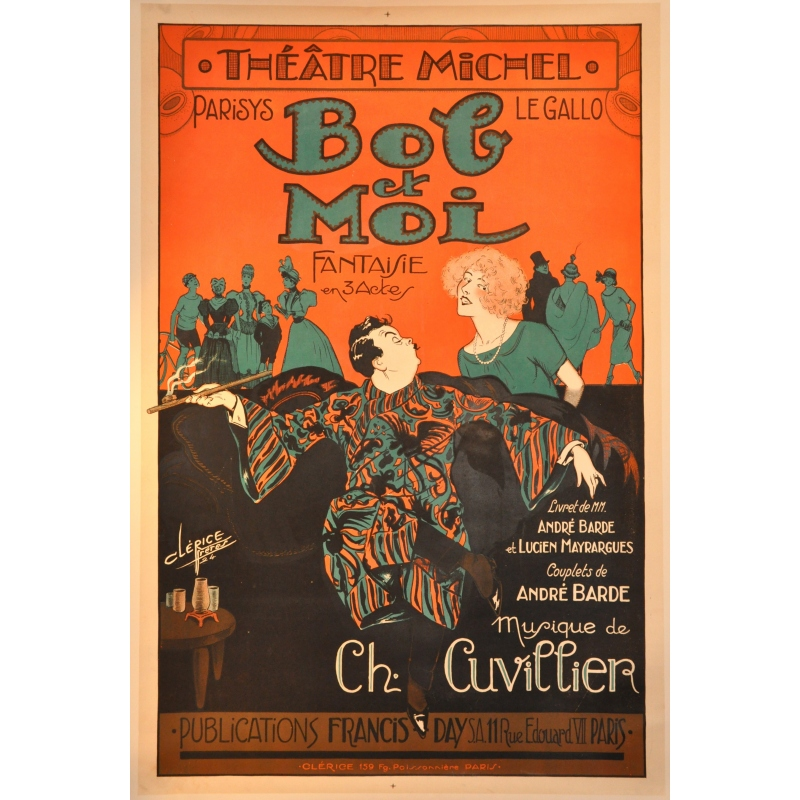 An original french vintage poster of the Theater Michel. Elbé Paris.