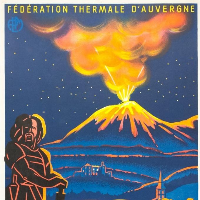 Affiche ancienne de voyage - Cello - Circa 1930 - Les grandes journées d'Auvergne - 100 par 62 cm - 2