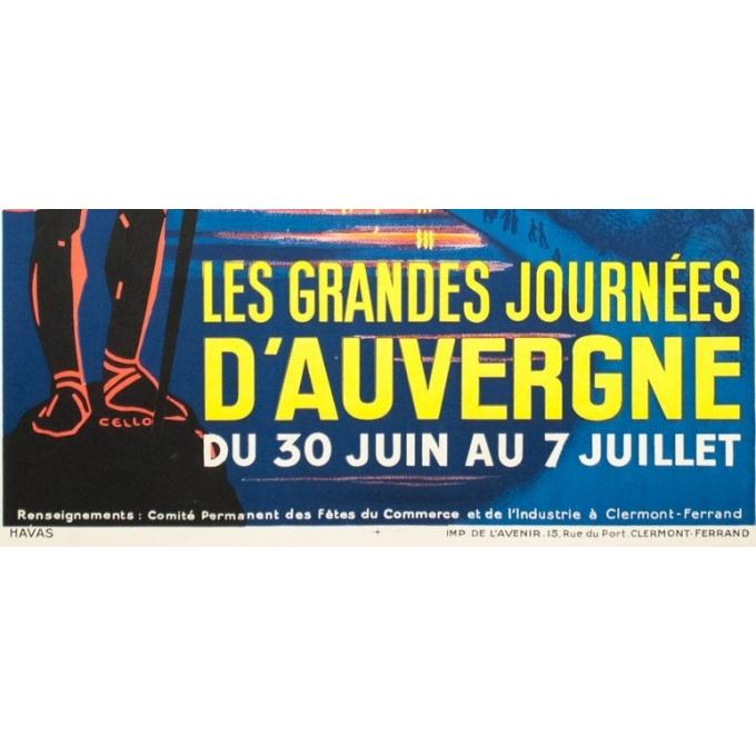 Vintage travel poster - Cello - Circa 1930 - Les grandes journées d'Auvergne - 39.4 by 24.4 inches - 3