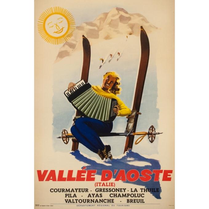 Affiche ancienne de voyage - Anonyme  - Circa 1950  - Vallée d'Aost Italie - 98.5 par 67 cm