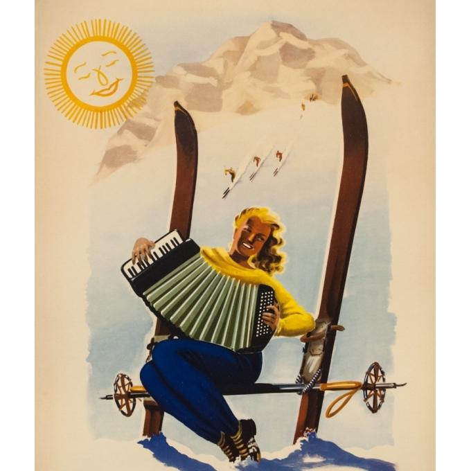 Affiche ancienne de voyage - Anonyme  - Circa 1950  - Vallée d'Aost Italie - 98.5 par 67 cm - 2
