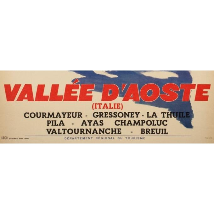 Affiche ancienne de voyage - Anonyme  - Circa 1950  - Vallée d'Aost Italie - 98.5 par 67 cm - 3