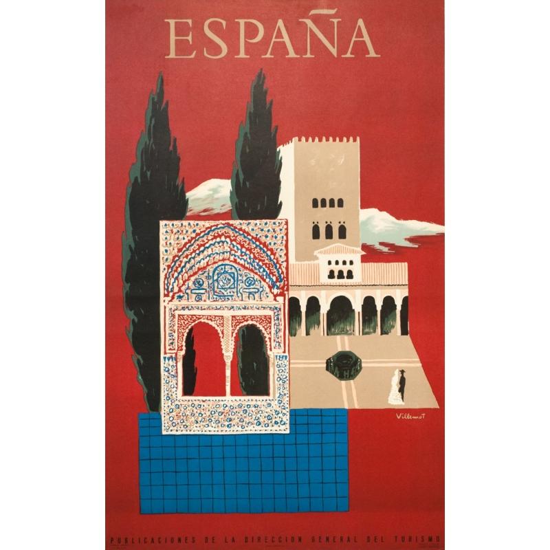 Vintage Travel Poster By Villemot 1957 Espagne Grenade Alhambra