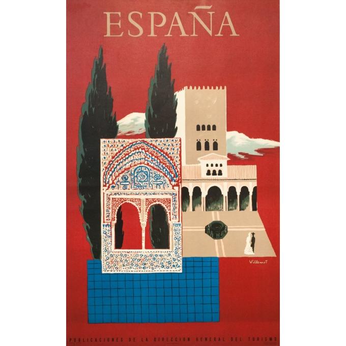 Affiche ancienne de voyage - Villemot - 1957 - Espagne Grenade Alhambra  - 100 par 62 cm