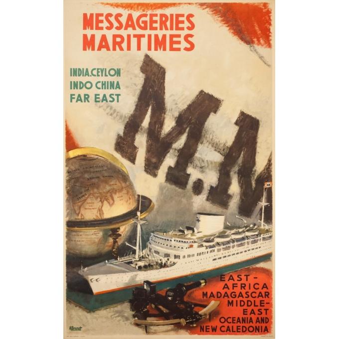Affiche ancienne de voyage - A.Brenet - Circa 1950  - Messagerie Maritime Extrême Orient - 100 par 62.5 cm