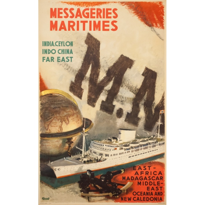 Vintage travel poster - A.Brenet - Circa 1950  - Messagerie Maritime Extrême Orient - 39.4 by 24.6 inches