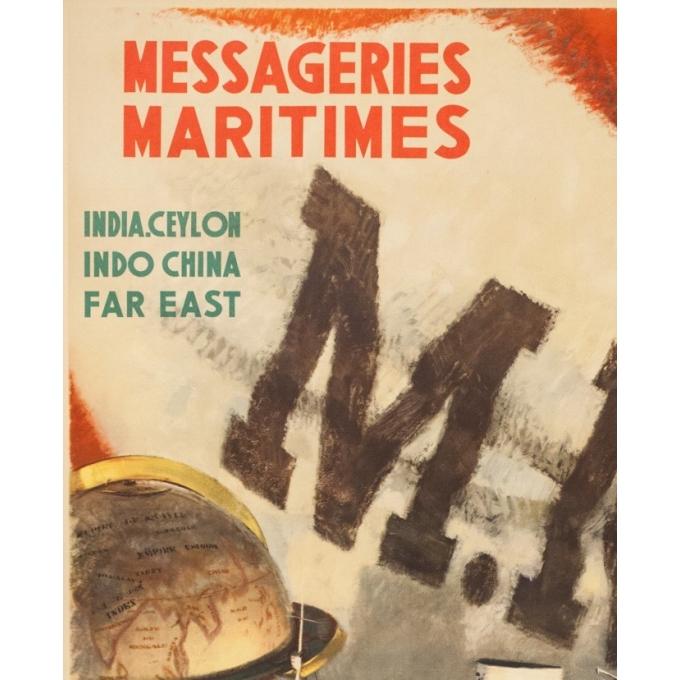 Affiche ancienne de voyage - A.Brenet - Circa 1950  - Messagerie Maritime Extrême Orient - 100 par 62.5 cm - 2