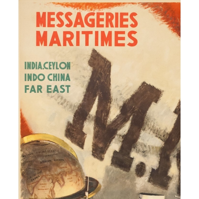 Vintage travel poster - A.Brenet - Circa 1950  - Messagerie Maritime Extrême Orient - 39.4 by 24.6 inches - 2