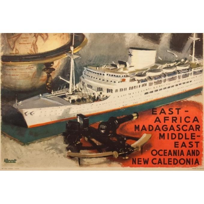 Affiche ancienne de voyage - A.Brenet - Circa 1950  - Messagerie Maritime Extrême Orient - 100 par 62.5 cm - 3