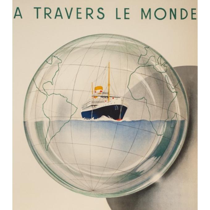 Vintage travel poster - Jean Brouillé - Circa 1950  - Chargeurs Réunis à Travers le Monde - 37.8 by 21.9 inches - 2