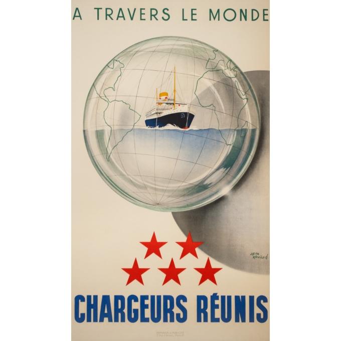 Vintage travel poster - Jean Brouillé - Circa 1950  - Chargeurs Réunis à Travers le Monde - 37.8 by 21.9 inches
