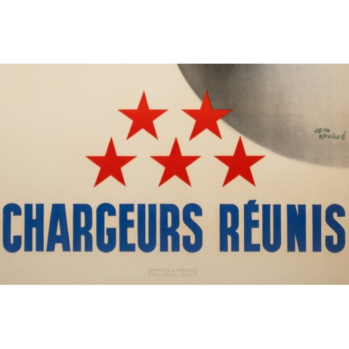 Affiche ancienne de voyage - Jean Brouillé - Circa 1950  - Chargeurs Réunis à Travers le Monde - 96 par 55.5 cm - 3