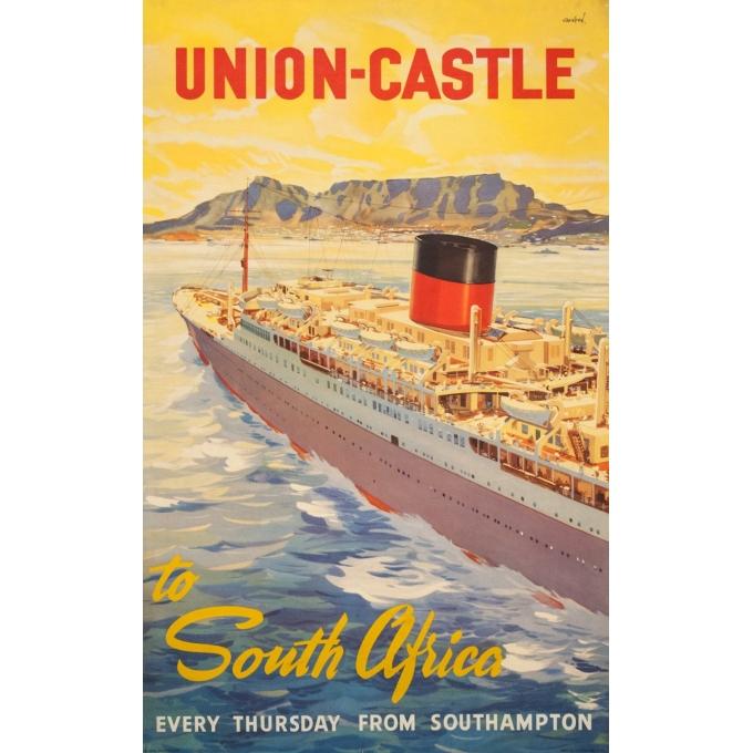 Affiche ancienne de voyage - John Stox - Circa 1950  - Union Castel South Africa - 102 par 63.5 cm