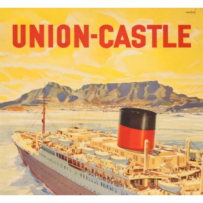 Affiche ancienne de voyage - John Stox - Circa 1950  - Union Castel South Africa - 102 par 63.5 cm - 2