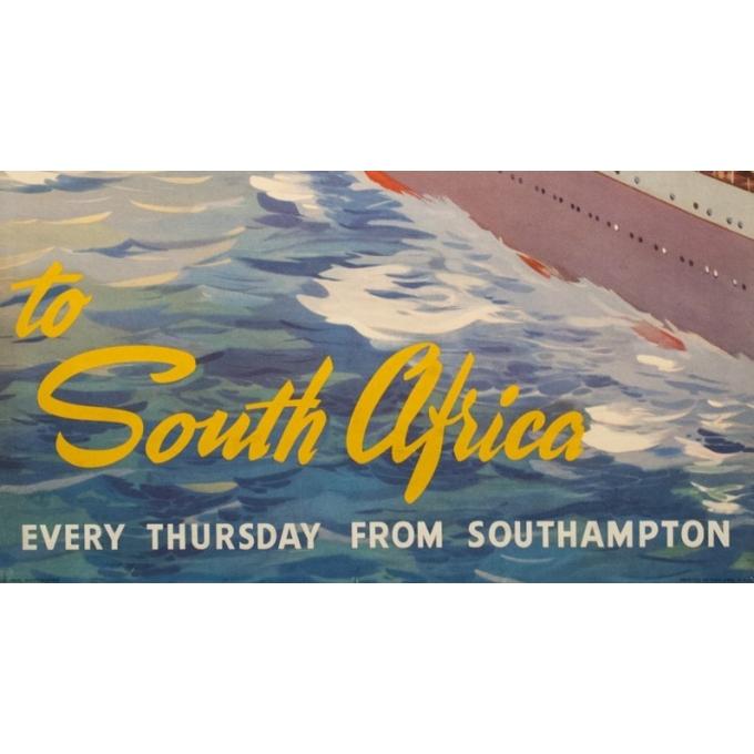 Affiche ancienne de voyage - John Stox - Circa 1950  - Union Castel South Africa - 102 par 63.5 cm - 3