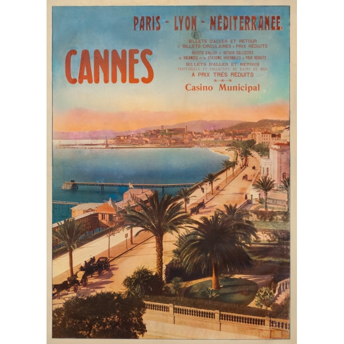 Affiche ancienne de voyage - Anonyme  - Circa 1900 - Cannes PLM - 106 par 77 cm