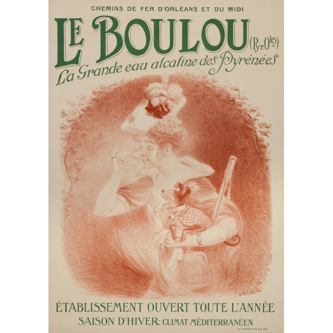 Vintage travel poster - Villette - Circa 1895 - Le Boulou - 41.5 by 29.5 inches