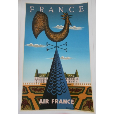 Affiche de la compagnie Air France - France. Elbé Paris.