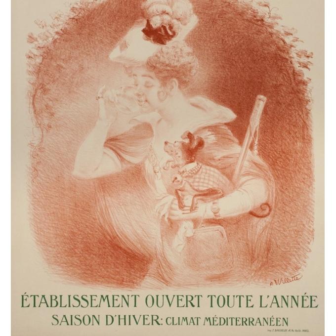 Affiche ancienne de voyage - Villette - Circa 1895 - Le Boulou - 105.5 par 75 cm - 3