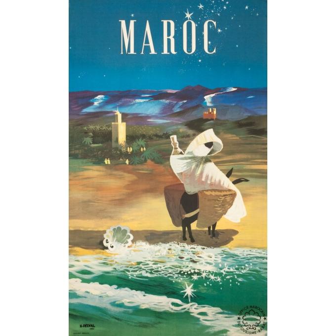 Affiche ancienne de voyage - H.Delval - 1952 - Maroc de nuit - 101 par 60 cm