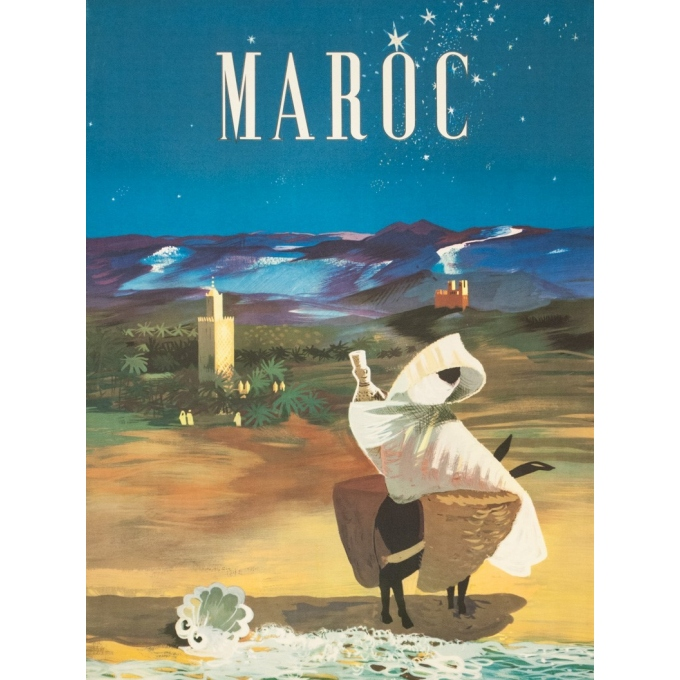 Vintage travel poster - H.Delval - 1952 - Maroc de nuit - 39.8 by 23.6 inches - 2
