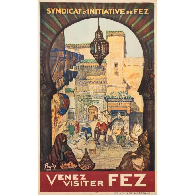 Affiche ancienne de voyage - Pontoy - 1929 - Venez Visiter Fez Maroc - 100 par 61 cm
