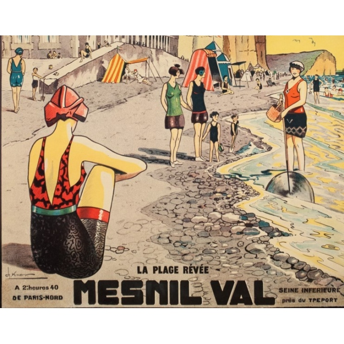 Vintage travel poster - Ch.Knorr - Circa 1925 - Menils Val - 39 by 24.8 inches - 3