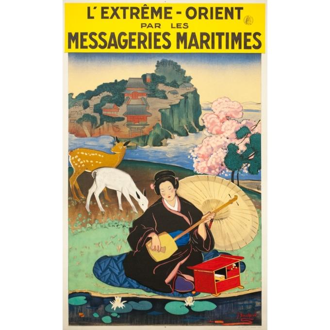 Vintage travel poster - J.Bouchaud - Circa 1925 - L'extrême Orient par les Messageries Maritimes - 39 by 24.4 inches