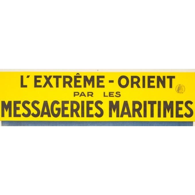 Vintage travel poster - J.Bouchaud - Circa 1925 - L'extrême Orient par les Messageries Maritimes - 39 by 24.4 inches - 2