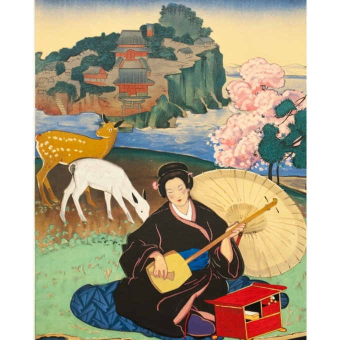 Vintage travel poster - J.Bouchaud - Circa 1925 - L'extrême Orient par les Messageries Maritimes - 39 by 24.4 inches - 3