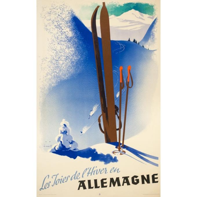 Affiche ancienne de voyage - Jupp Wirtz - Circa 1935 - Les joies de l'hiver en Allemagne - 101 par 64 cm
