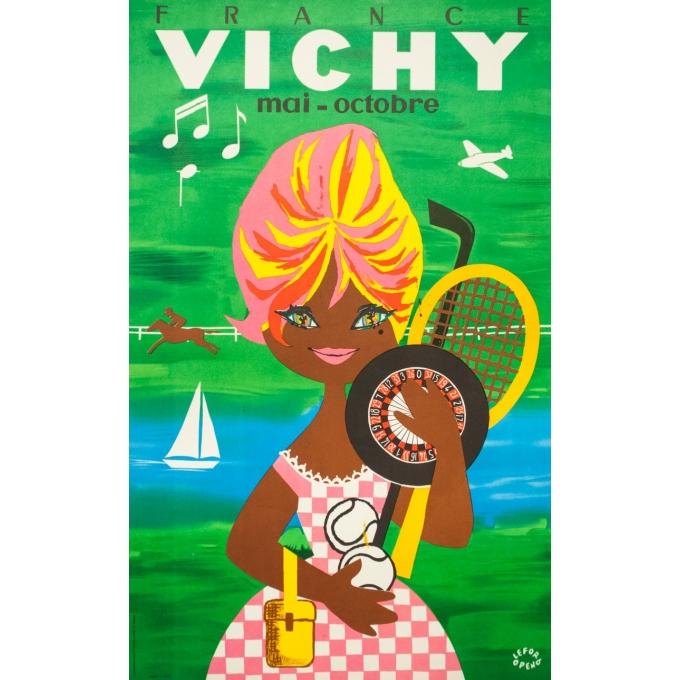 Affiche ancienne de voyage - Lefor openo - Circa 1960 - Vichy Bardot - 100 par 62 cm
