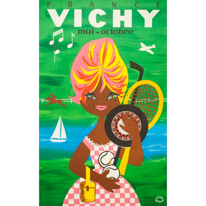 Vintage travel poster - Lefor Openo - Circa 1960 - Vichy Bardot - 39.4 by 24.4 inches